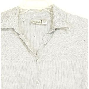 Chico's Tops - Chico's top tunic SZ 1 SM 100% linen pockets gray